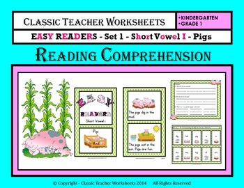 Easy Reader Short Vowel I-Reading Comprehension-Kindergarten Grade 1 (1st Grade)
