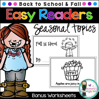 Easy Readers! Fall and Back-to-School Theme. Pre-K & Kindergarten {No Prep}