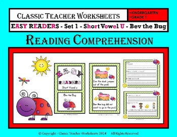 Easy Readers Bundle-Reading Comprehension-Set 1-Kindergarten-1st Grade (Grade 1)