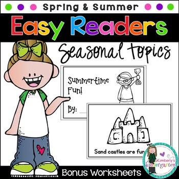 Easy Readers! Spring and Summer Theme. Pre-K & Kindergarten {No Prep}