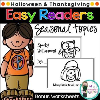 Easy Readers! Halloween & Thanksgiving Theme. Pre-K & Kindergarten {No Prep}