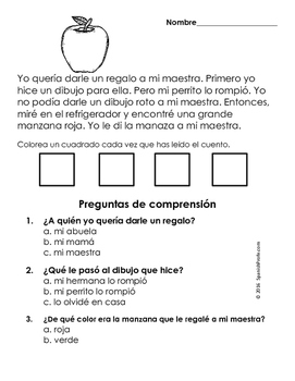 Easy Reading Comprehension Passages- Spanish (Back to School)