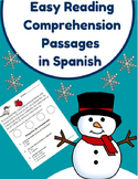 Easy Reading Comprehension Passages- Spanish (Invierno- Winter)