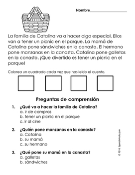 Easy Reading Comprehension Passages- Spanish (Verano- Summer)
