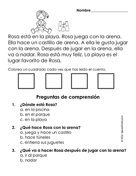 Easy Reading Comprehension Passages- Spanish (Verano- Summer)