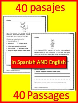 Easy Reading Comprehension in Spanish AND English: 40 Passages, 120 Questions