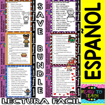 Easy Reading for Reading Comprehension in Spanish - Bundle Set 2 +200 Pgs