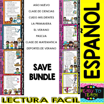 Back to School Easy Reading for Reading Comprehension in Spanish - Bundle Set 4