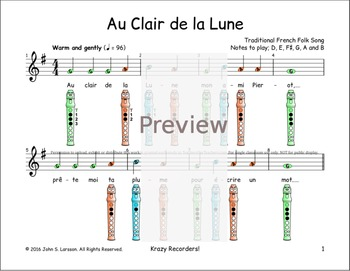 Easy Recorder - Au Clair de la Lune