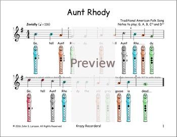 Recorder Sheet Music Beginner - Aunt Rhody - Digital Print