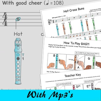 Recorder Songs And Activities - Hot Cross Buns - Free - Digital Print