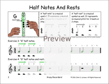 """Easy Note Value Lessons - """"G"""" Notes Rests and Merrily We Roll Along"""