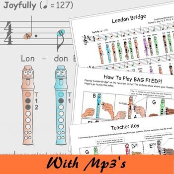 Recorder Sheet Music - London Bridge - Digital Print