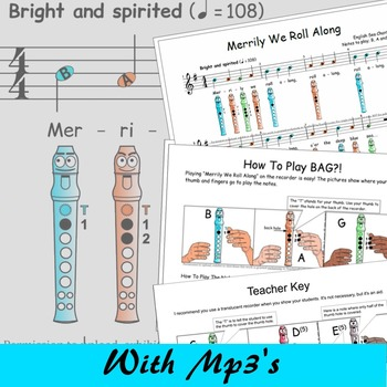 Recorder With Finger Chart - Merrily We Roll Along