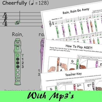 Recorder Music Easy - Rain Rain Go Away