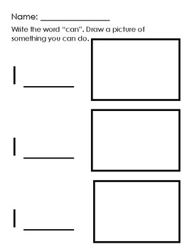 Easy SIght Word Writing and Drawing Worksheets