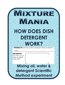 Easy Scientific Method Oil, Water and Detergent Mixture Experiment