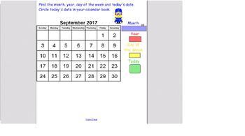 Easy September 2017 Calendar and Attendance for SmartBoard