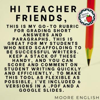 Easy Short Answer Rubric!