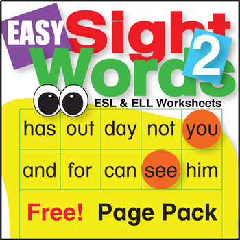 Easy Sight Word 2 Page Pack