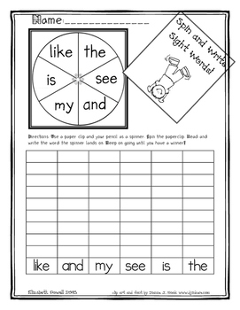 Easy Sight Word Spinner Activity and Simple Sight Word Sentences