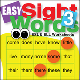 Easy Sight Words 3 Worksheets