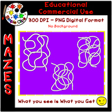 Easy Spaghetti Squiggle Mazes - Set 2 - Commercial Use {Simple Clips}