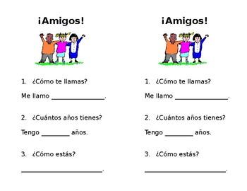 Easy Spanish I Interpersonal Interview Worksheet