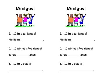 Easy Spanish I Interpersonal Interview Worksheet by La ...