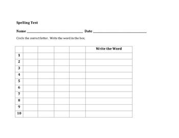 Easy Spelling Test Worksheet by Melinda Weiss | Teachers Pay Teachers