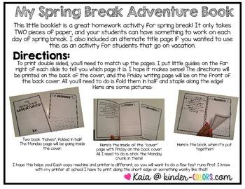 Easy Spring Break Writing Homework Booklet