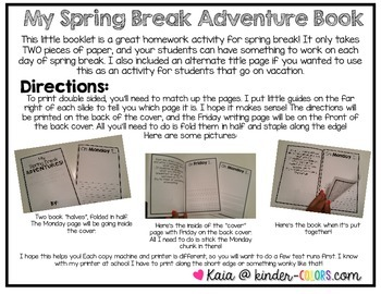 Easy Spring Break Writing Homework Booklet