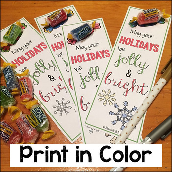 Easy Student Gift - Jolly Bookmarks (print or color), #LastMinuteGiftsforBigKids