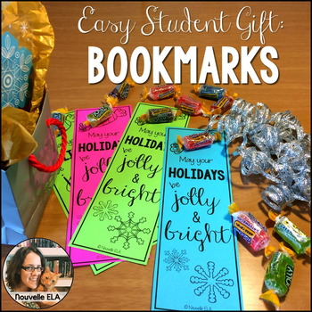 Easy Student Gift - Jolly Bookmarks (print or color), #Las