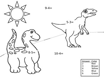 Easy Subtraction Coloring page