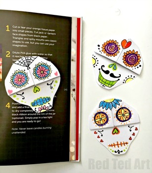 Easy Sugar Skull Corner Bookmark - STEAM Origami Projects - Day of the Dead