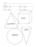 Easy Three Dimensional Shapes Coloring Page