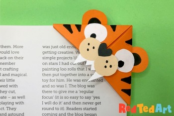 Easy Tiger Corner Bookmark - STEAM Origami Projects - Chinese Zodiac