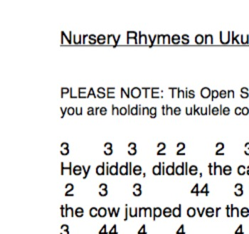 Easy Ukulele Nursery Rhymes on Open Strings