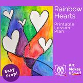 Easy Watercolor Art Project Rainbow Hearts Digital Lesson Plan