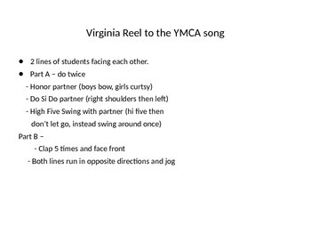 Easy Version of Virginia Reel Dance to YMCA Song