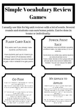 Easy Vocabulary Review Game Freebie
