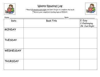 Easy Weekly Reading Log