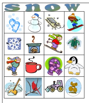 Easy Winter Bingo Game