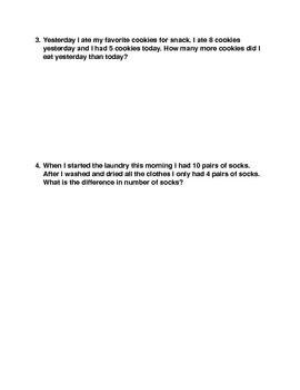 Easy Word Problems Worksheet (or quiz)