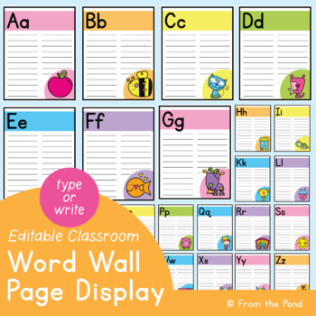 Easy Word Wall {Bright Word Wall Pages} Print & Go