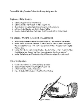 Easy Writing Tutoring Session Schedule