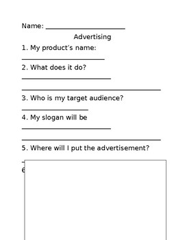 Easy advertising assignment for second grade