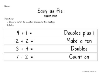 Easy As Pie Addition Template