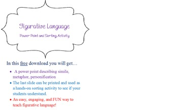 Easy and Engaging Figurative Language Sorting Activity